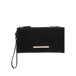 Red Herring - Black double zip large purse