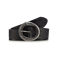 Mantaray - Black embossed trouser belt