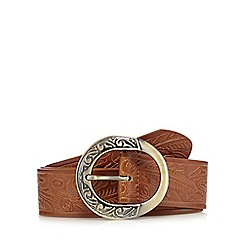Mantaray - Tan embossed trouser belt