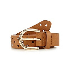 Mantaray - Tan punch out studded belt