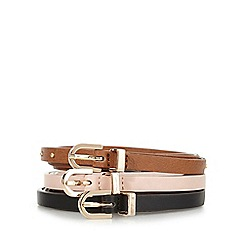 The Collection - Pack of three assorted skinny trouser belts