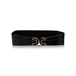 The Collection - Black croc-effect panel elasticated waist belt