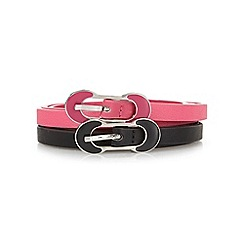The Collection - Pack of two black and pink skinny buckle belts