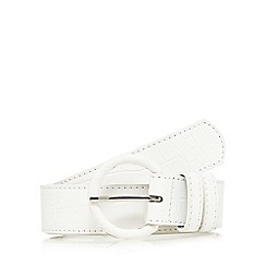 The Collection - White round buckle croc print belt