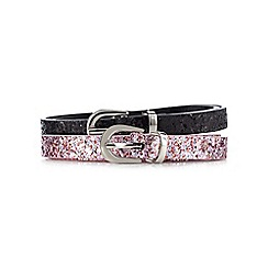 Red Herring - Pack of two pink and black glittery skinny belts