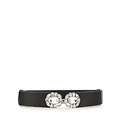 Red Herring - Black gem embellished waist belt