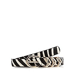 Red Herring - White zebra print leather-blend belt