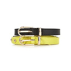 Red Herring - Pack of two black and yellow skinny studded belts