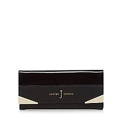 J by Jasper Conran - Black patent and textured metal trim large purse