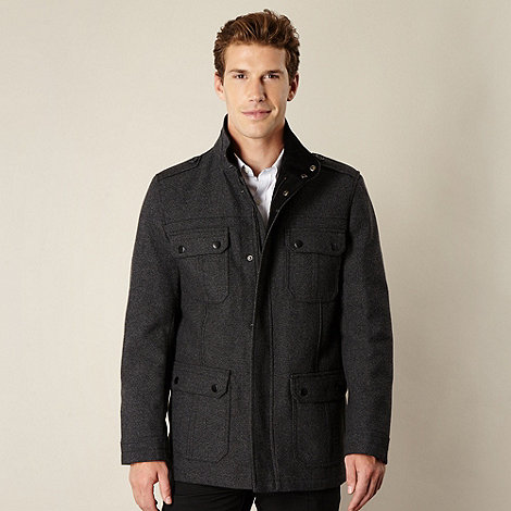 Thomas Nash - Big and tall grey wool blend four pocket coat
