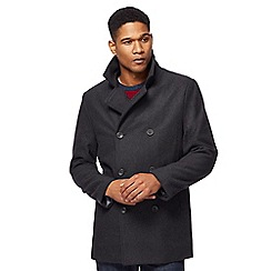 The Collection - Big and tall dark grey reefer double-breasted coat with wool