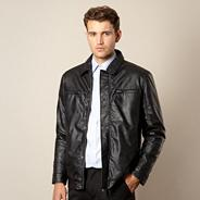 Big and tall black collared leather look jacket