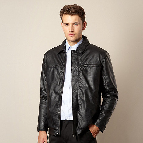 Thomas Nash - Big and tall black collared leather look jacket