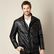 Big and tall black leather look jacket