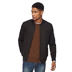 The Collection - Big and tall dark grey textured bomber jacket