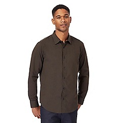 The Collection - Big and tall dark green tonic tailored fit shirt
