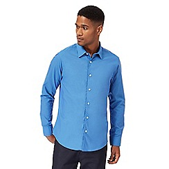 The Collection - Big and tall mid blue tonic tailored fit shirt