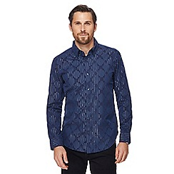 The Collection - Big and tall navy flocked tailored fit shirt
