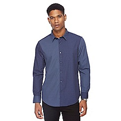 The Collection - Big and tall navy contrasting print tailored fit shirt