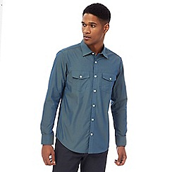 The Collection - Big and tall khaki tonic tailored fit military shirt