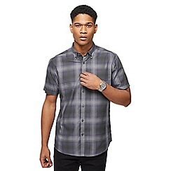 The Collection - Big and tall grey twill checked tailored fit shirt