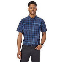 The Collection - Big and tall blue checked tailored fit shirt