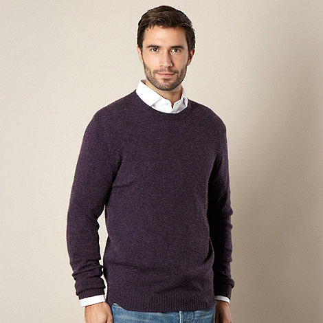 Thomas Nash - Big and tall purple lambswool blend crew neck jumper