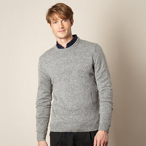 Thomas Nash - Light grey lambswool blend crew neck jumper
