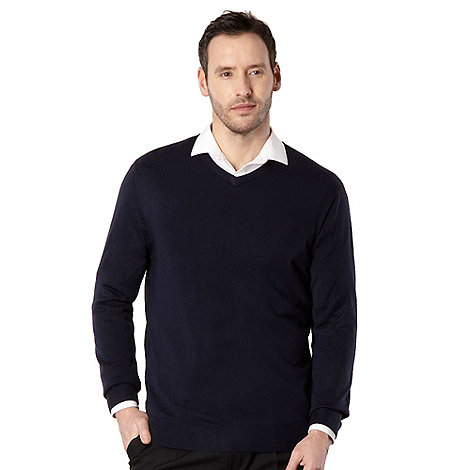 Thomas Nash - Big and tall navy v neck jumper