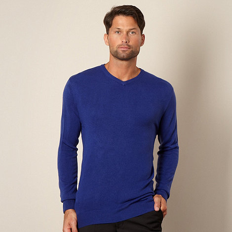 Thomas Nash - Big and tall bright blue v neck jumper