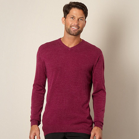 Thomas Nash - Big and tall dark pink v neck jumper