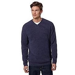 Thomas Nash - Big and tall dark blue v neck jumper