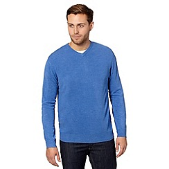 Thomas Nash - Big and tall blue v neck knitted jumper