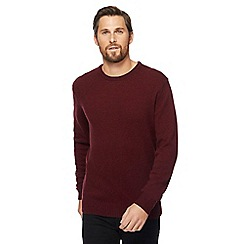 The Collection - Dark red lambswool-blend crew neck jumper