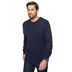 The Collection - Big and tall blue lambswool-blend crew neck jumper