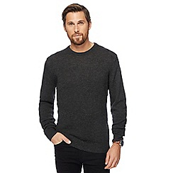 The Collection - Big and tall dark grey lambswool-blend crew neck jumper