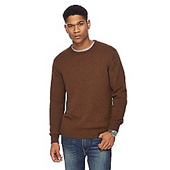 The Collection - Big and tall brown lambswool blend jumper