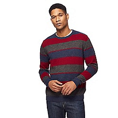 The Collection - Big and tall red colour block lambswool-blend crew neck jumper