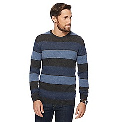 The Collection - Blue colour block lambswool-blend crew neck jumper