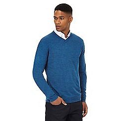 The Collection - Bright blue textured V-neck jumper