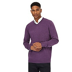 The Collection - Purple textured V-neck jumper