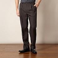 Thomas Nash - Dark brown herringbone trousers