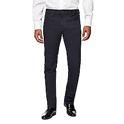 The Collection - Big and tall dark blue coated straight trousers