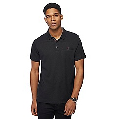 The Collection - Big and tall black textured square polo shirt