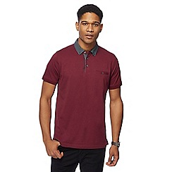 The Collection - Big and tall dark red spotted collar polo shirt