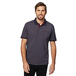 The Collection - Big and tall navy box print polo shirt