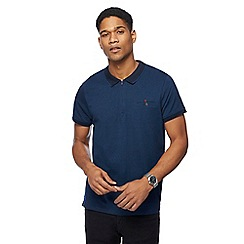 The Collection - Navy fine striped zip neck polo shirt