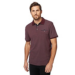 The Collection - Big and tall dark red box print polo shirt