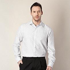 Thomas Nash - Big and tall white long sleeved ditsy floral pattern shirt