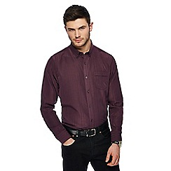 The Collection - Big and tall wine red textured stripe shirt